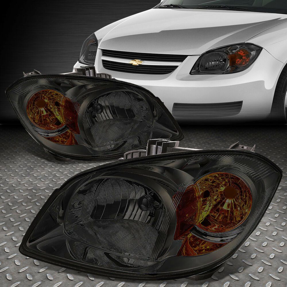 FOR 2005-2010 CHEVY COBALT PAIR SMOKED HOUSING AMBER CORNER HEADLIGHT/LAMP  SET | eBay