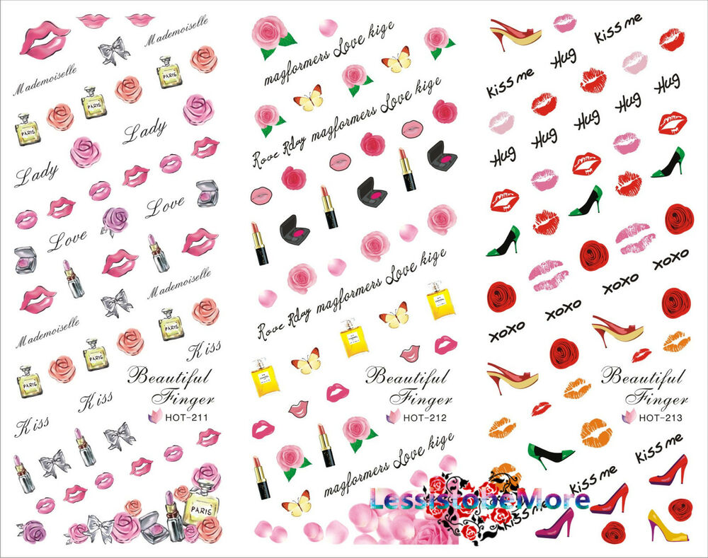 New 3-in-1 Hug&Kiss Me Nail Art Decals Manicure Water Transfers ...