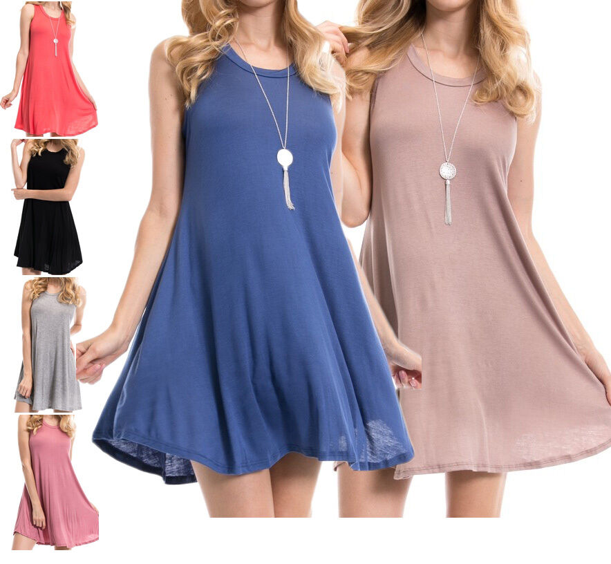 Usa women scoop neck tunic dress a line long tank top for Is a tunic a dress or a shirt