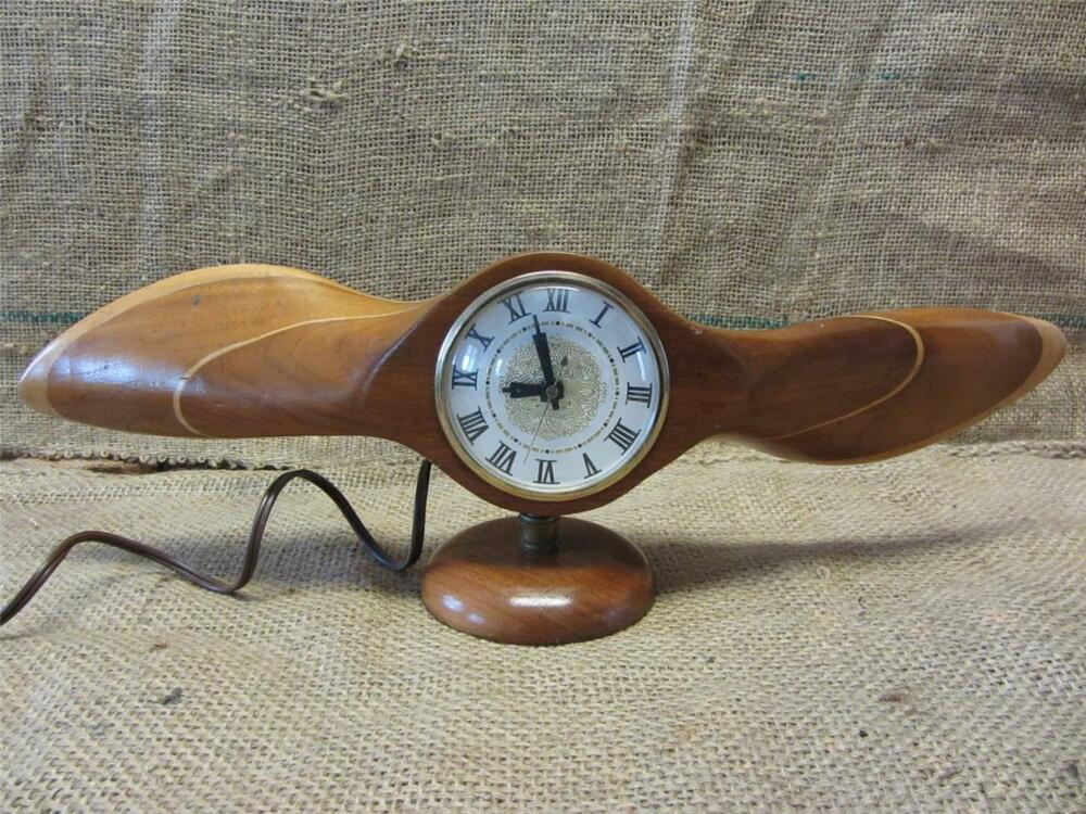 Propeller Wall Clock : Vintage wooden airplane propeller clock gt antique old