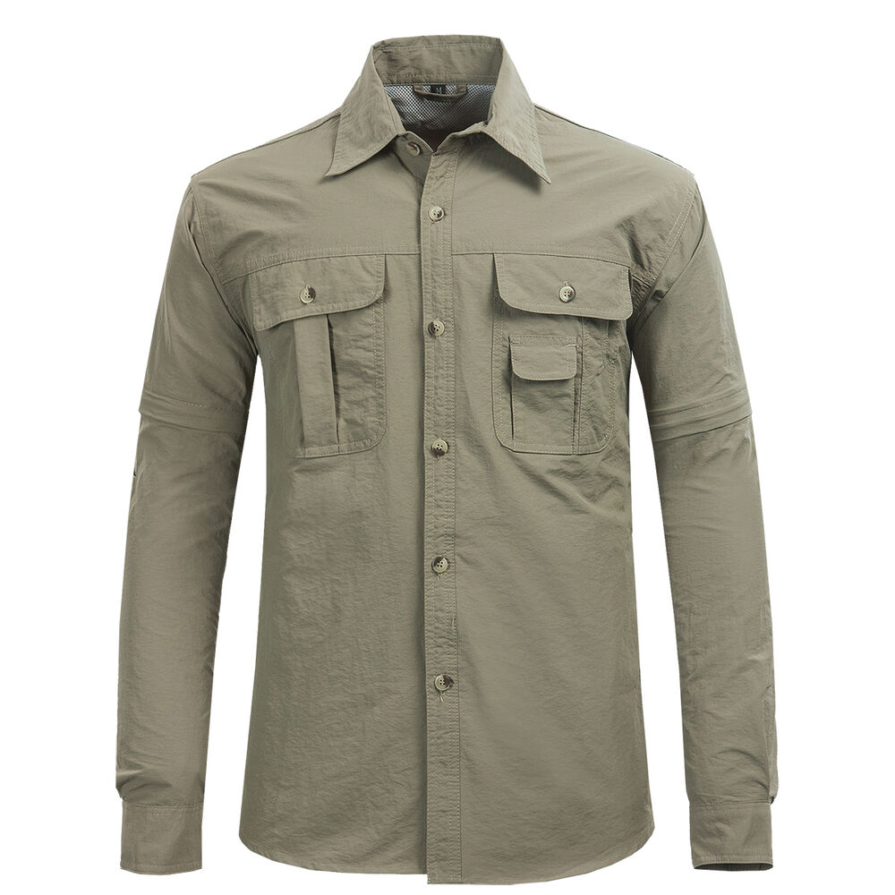 Mens quick dry hiking fishing casual cargo shirts nylon for Spf shirts for fishing