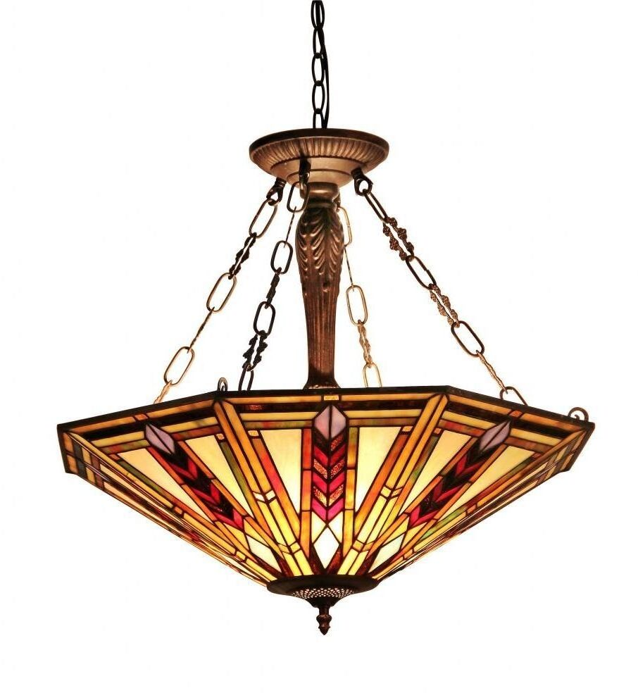 Glass Chandeliers For Dining Room: Dining Room Light Fixture Tiffany Style Stained Glass