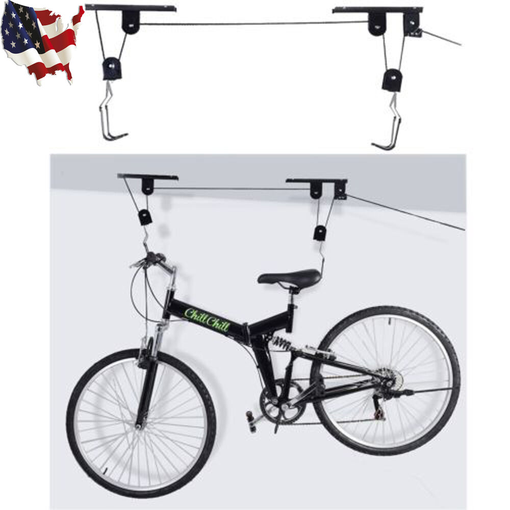 bike bicycle lift ceiling mount pulley hoist rack garage storage hooks hanger ebay. Black Bedroom Furniture Sets. Home Design Ideas