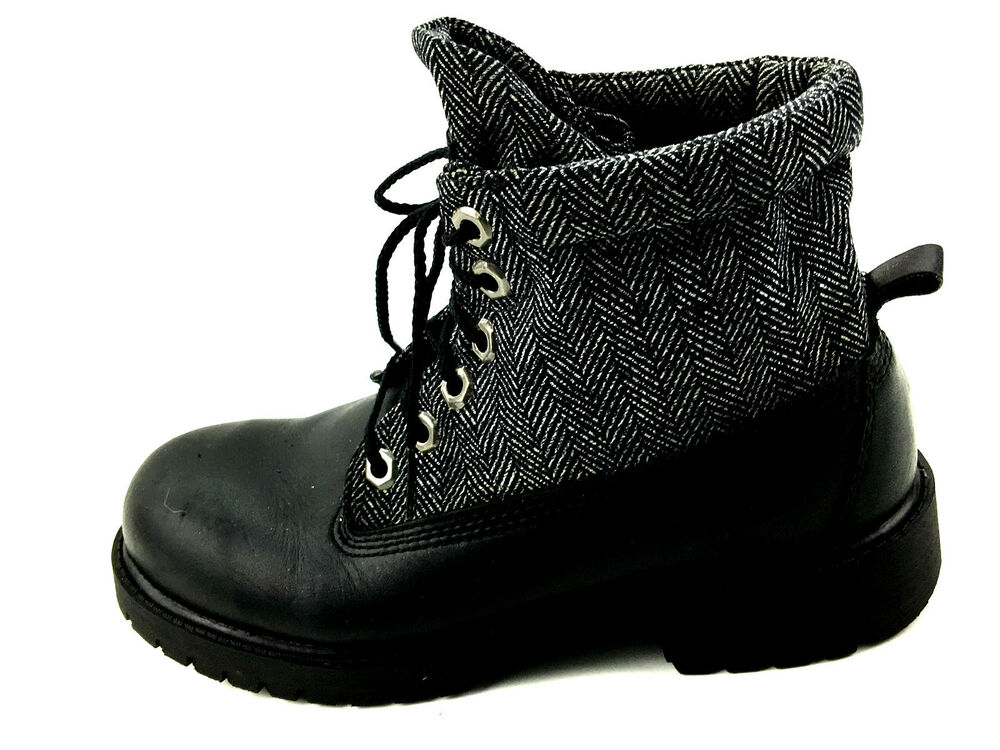 timberland leather tweed soft top black boots boys size 4