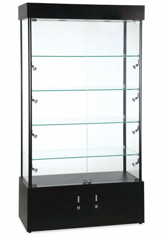 Retail Display Lighted Glass Tower Showcase 4 Shelves
