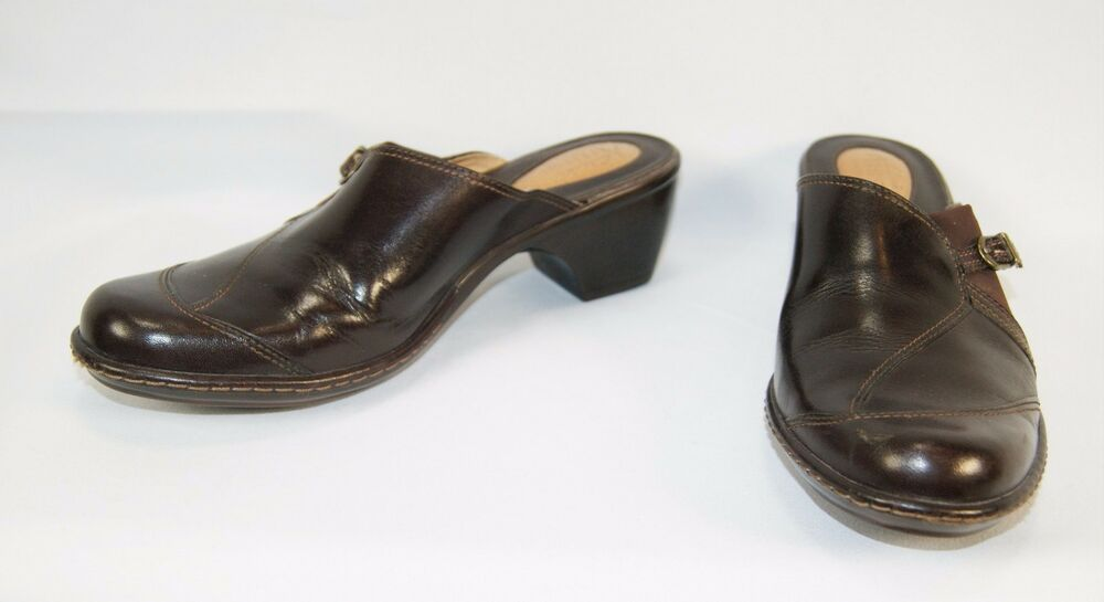 Clarks Artisan Collection Brown Leather Mules Clogs Shoes