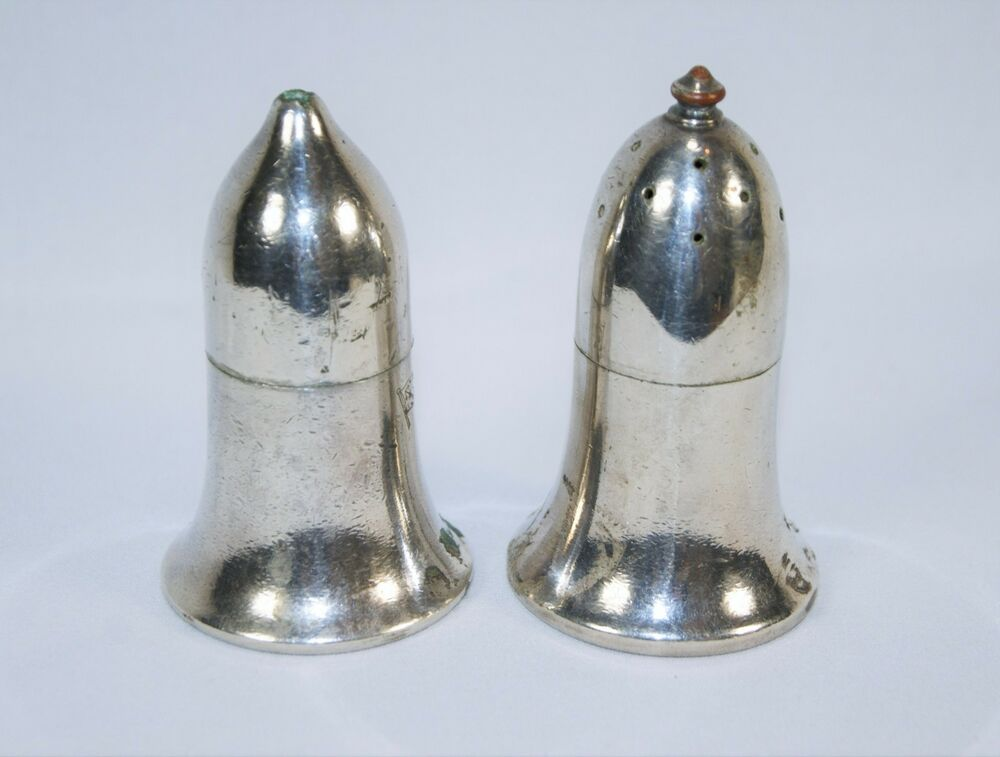 Antique Salt And Pepper Shakers Silver With Blue Glass