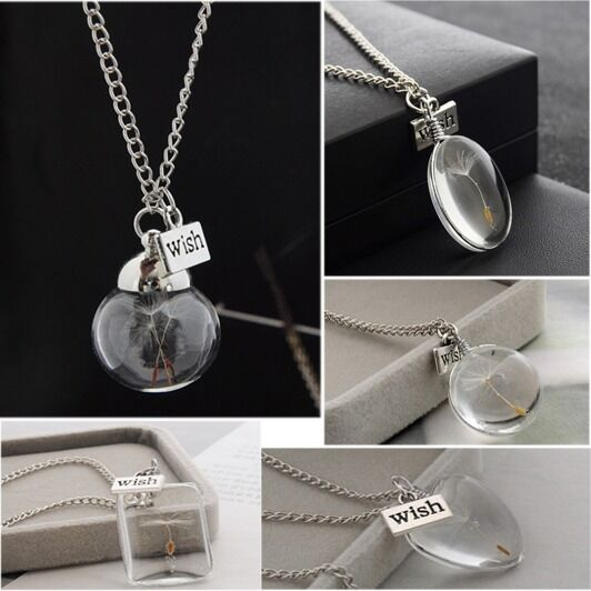 make a wish real dandelion seed necklace dandelion pendant