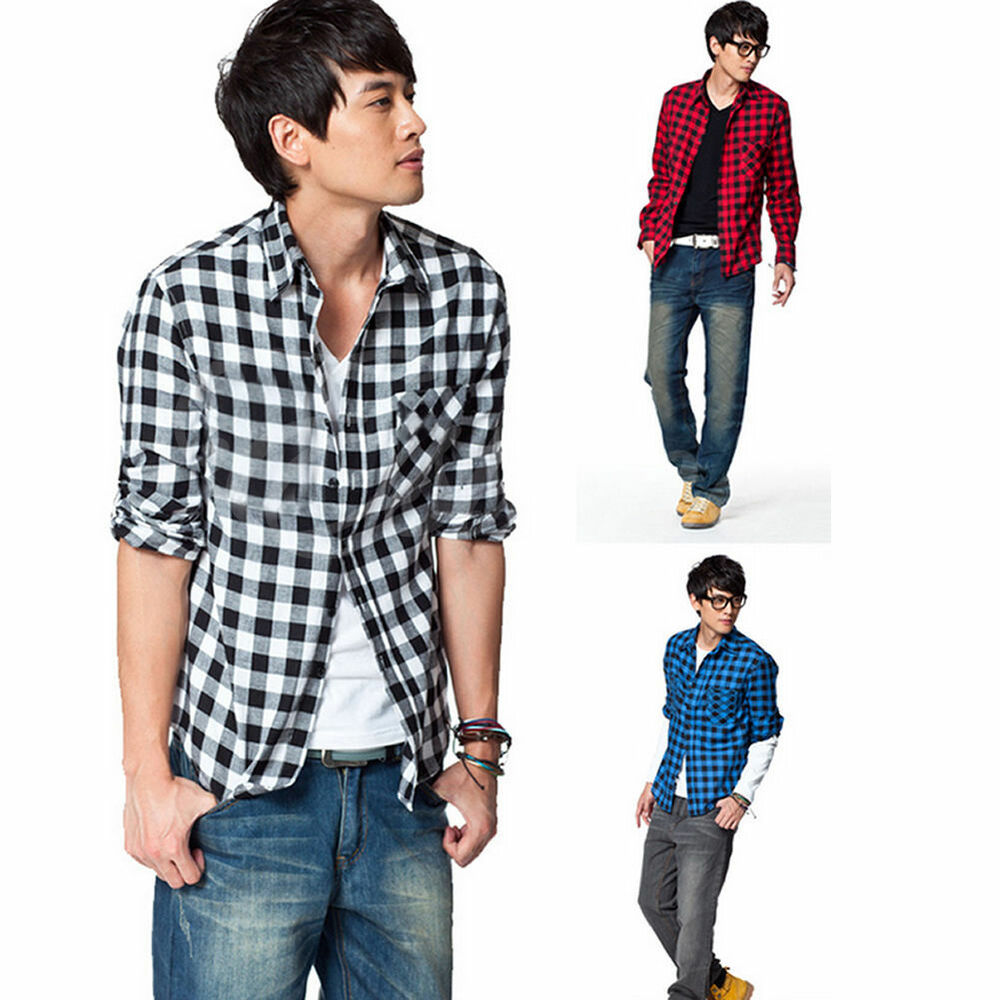 Hot fashion men 39 s cotton soft long sleeve slim casual for Mixed plaid shirt mens