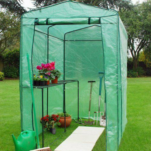 Extra Large Walk In Greenhouse With Shelving Pvc Cover