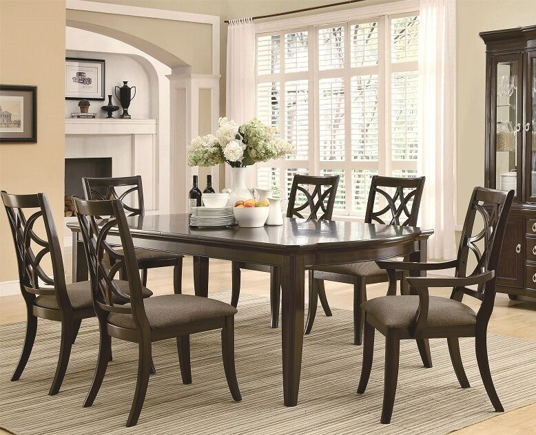 Meredith formal dining table expresso finish 7 piece set for 7 piece dining room sets under 1000