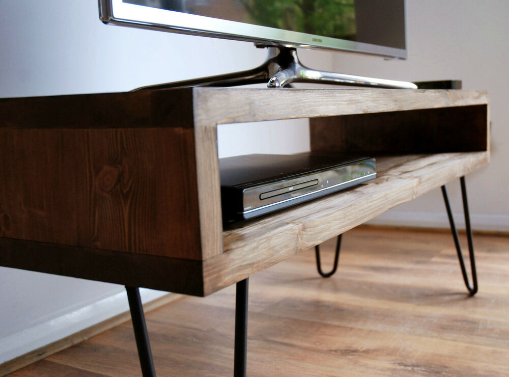 Steel Tv Stand Designs : Vintage retro box tv stand w metal hairpin legs solid