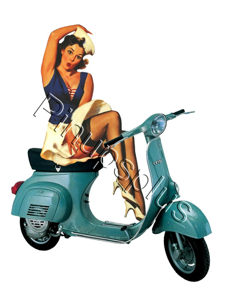 retro vespa scooter pinup waterslide decal sticker s459 ebay. Black Bedroom Furniture Sets. Home Design Ideas