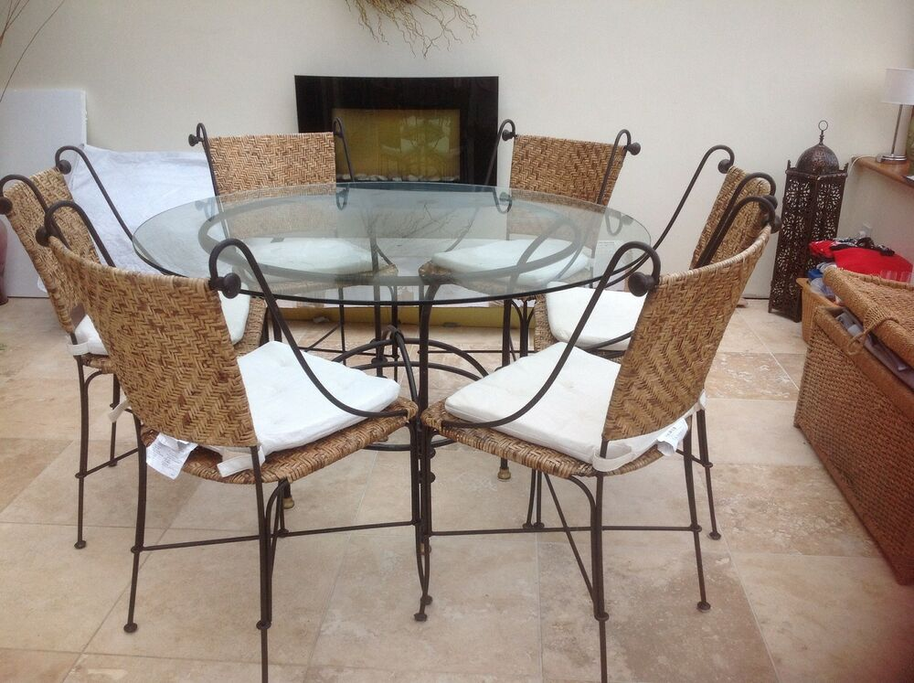 GLASS DINING TABLE AND 6 CHAIRS - WROUGHT IRON / CANE ...
