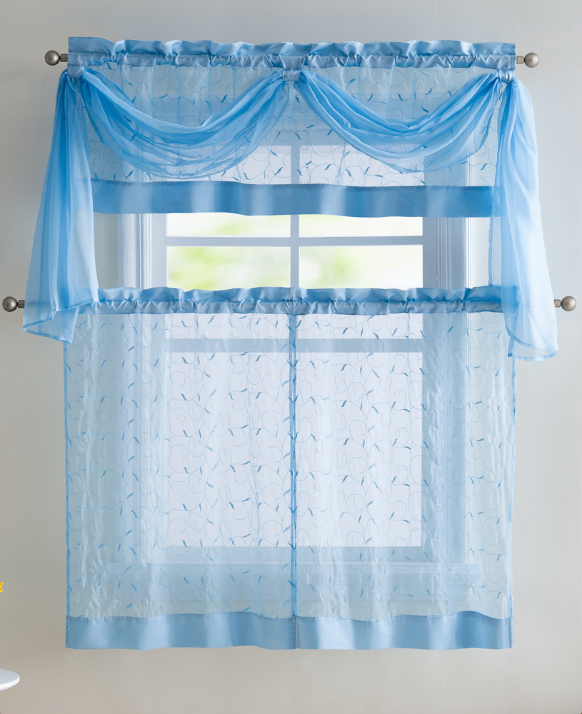 VCNY Embroidered Leaf 4-Piece Kitchen Curtain Tier & Scarf