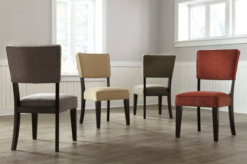 Casual style ashley furniture dining room fabric seat for 4 dining room chairs ebay