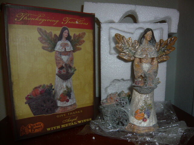 Cracker Barrel Home Decor Give Thanks Angel With Metal Wings Thanksgiving Ebay