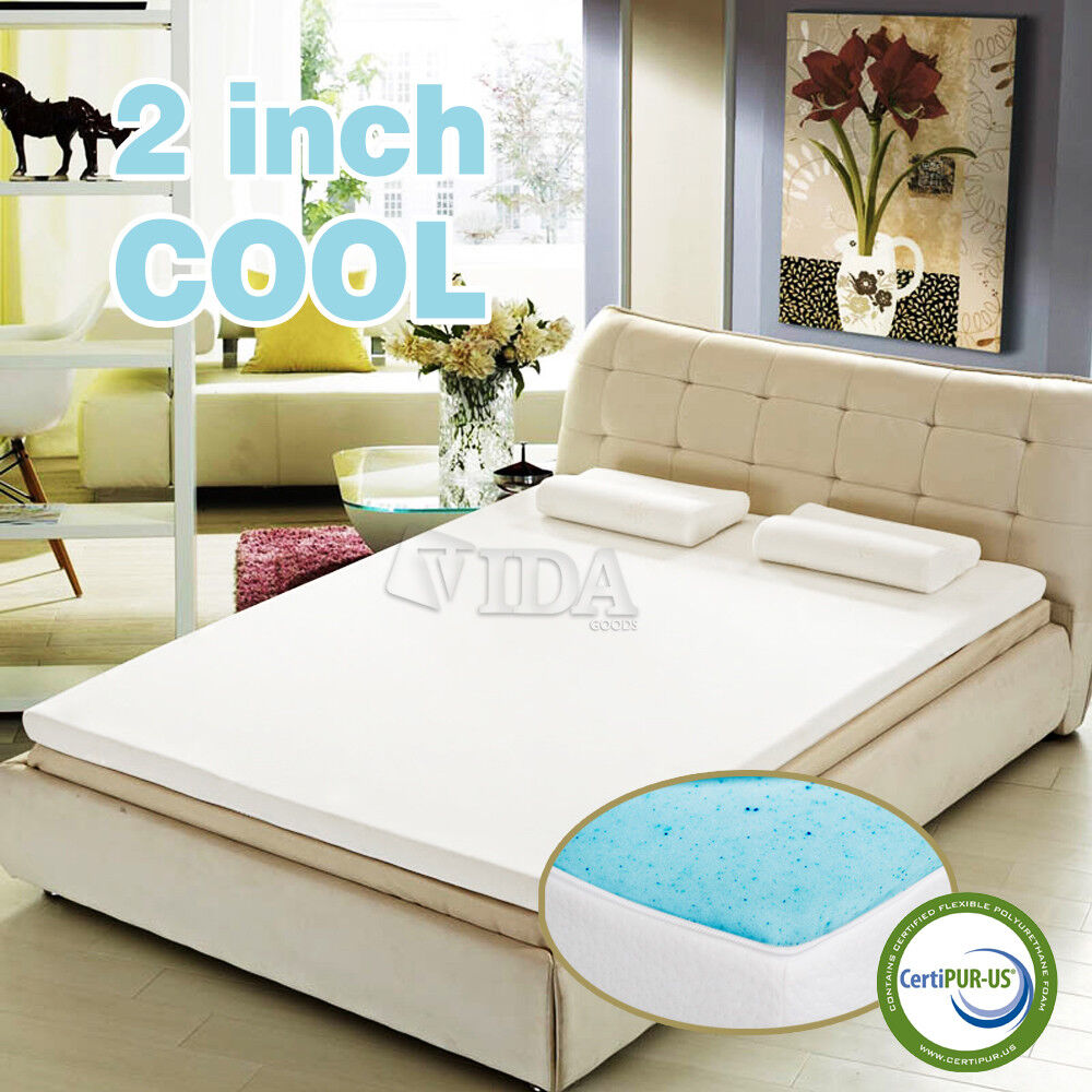 2 inch cool gel memory foam mattress topper pad twin full 2 twin beds make a queen