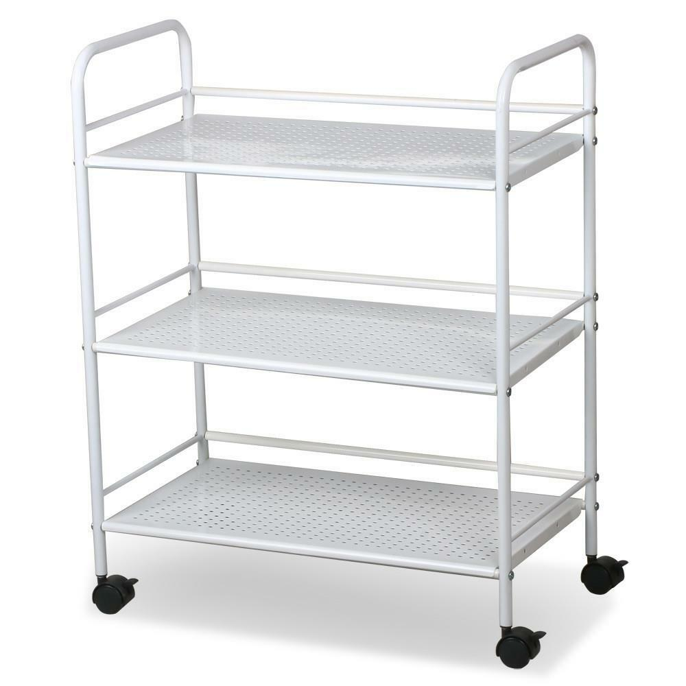 White salon trolley cart shelves ebay for Salon trolley