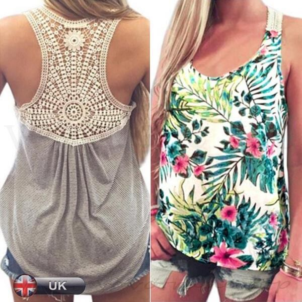 2de55b6c6bd384 Details about UK Women Summer Vest Top Sleeveless Blouse Casual Tank Tops  Ladies T-Shirt Lace