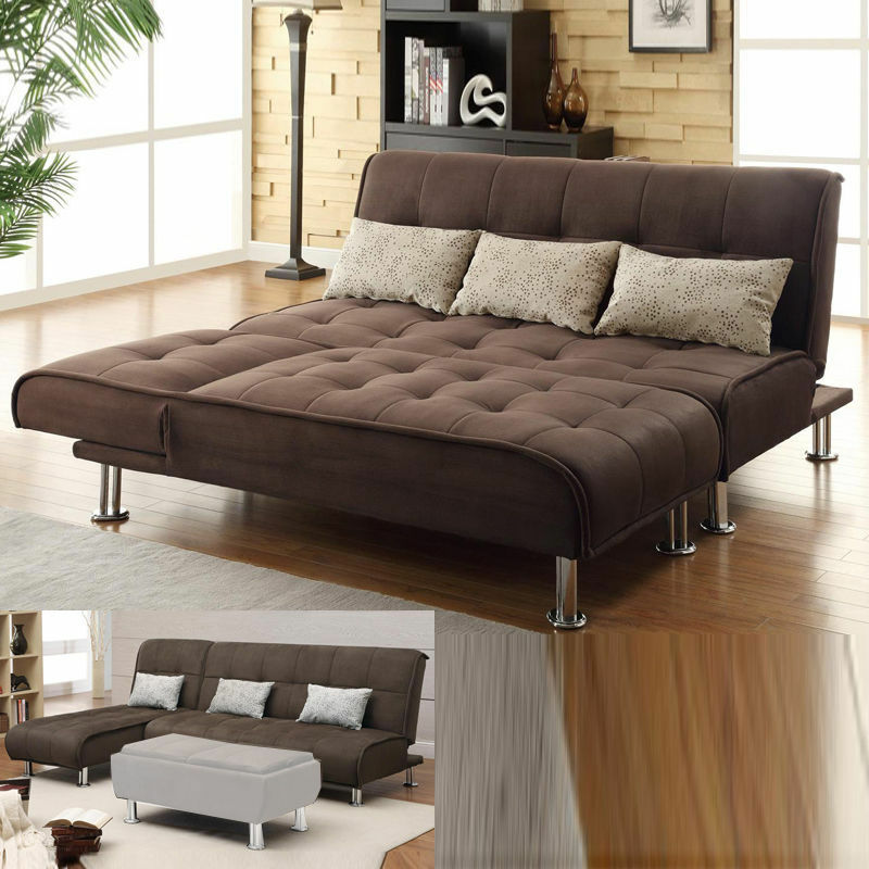 brown microfiber 2 pc sectional sofa futon couch chaise bed sleeper pillow set ebay. Black Bedroom Furniture Sets. Home Design Ideas