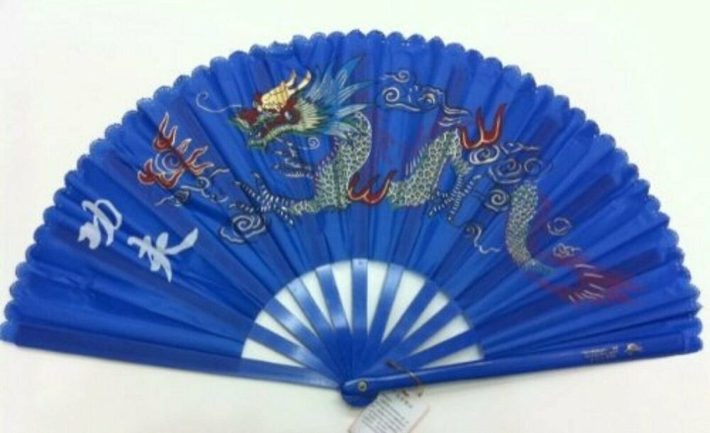 blue plastic kung fu tai chi training fan with dragon. Black Bedroom Furniture Sets. Home Design Ideas