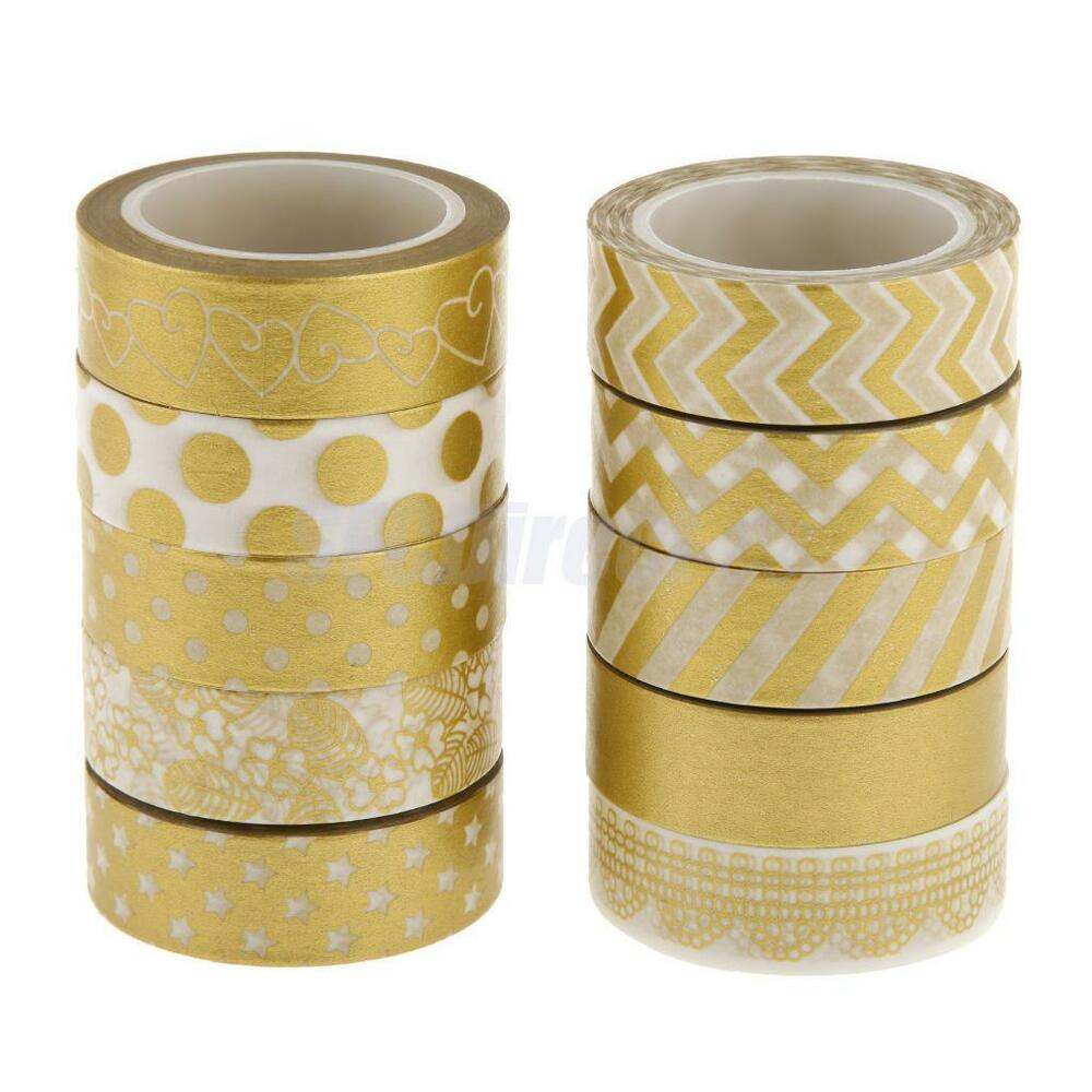 10 gold decorative washi sticky paper masking adhesive tape scrapbooking diy ebay. Black Bedroom Furniture Sets. Home Design Ideas