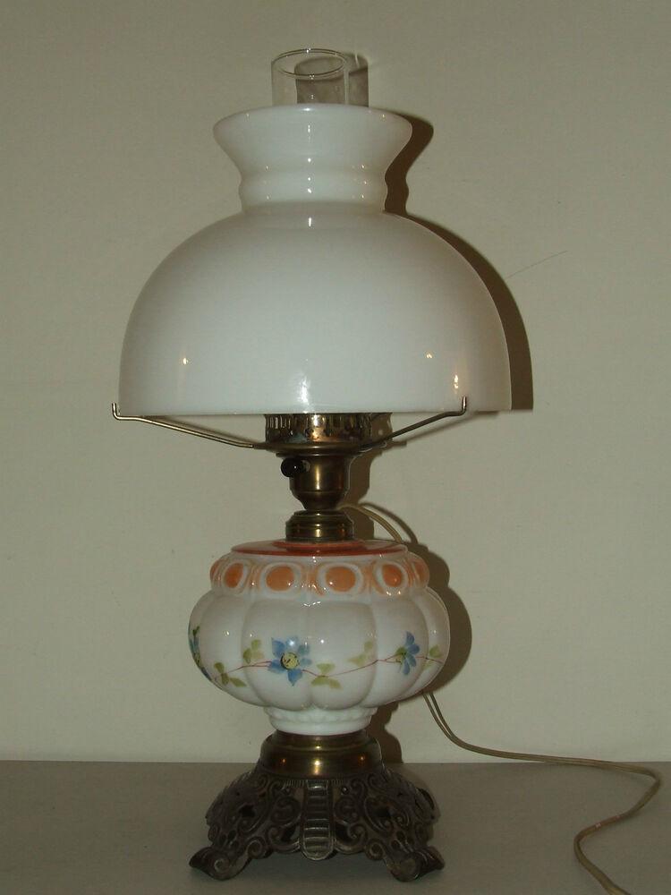 antique porcelain victorian electric oil gwtw table lamp with milk glass shade ebay. Black Bedroom Furniture Sets. Home Design Ideas