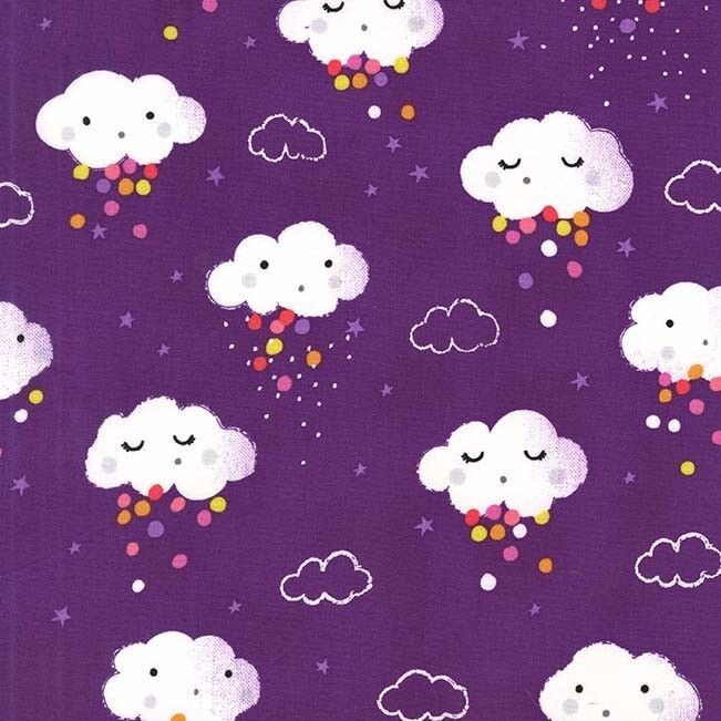 Michael miller showery fabric in rainbow purple rain for Purple baby fabric