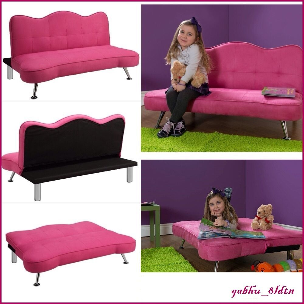 Pink sofa kids girls futon sleeper couch lounge chair for Chaise junior