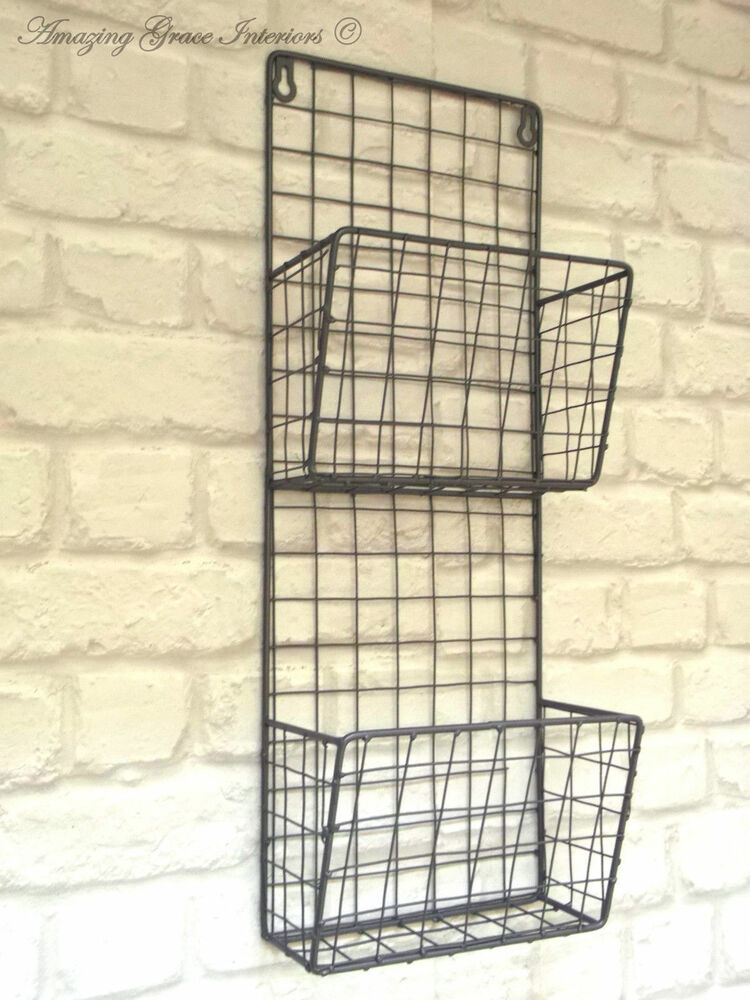 Vintage Industrial Style Metal Wall Shelf Unit Letter Rack