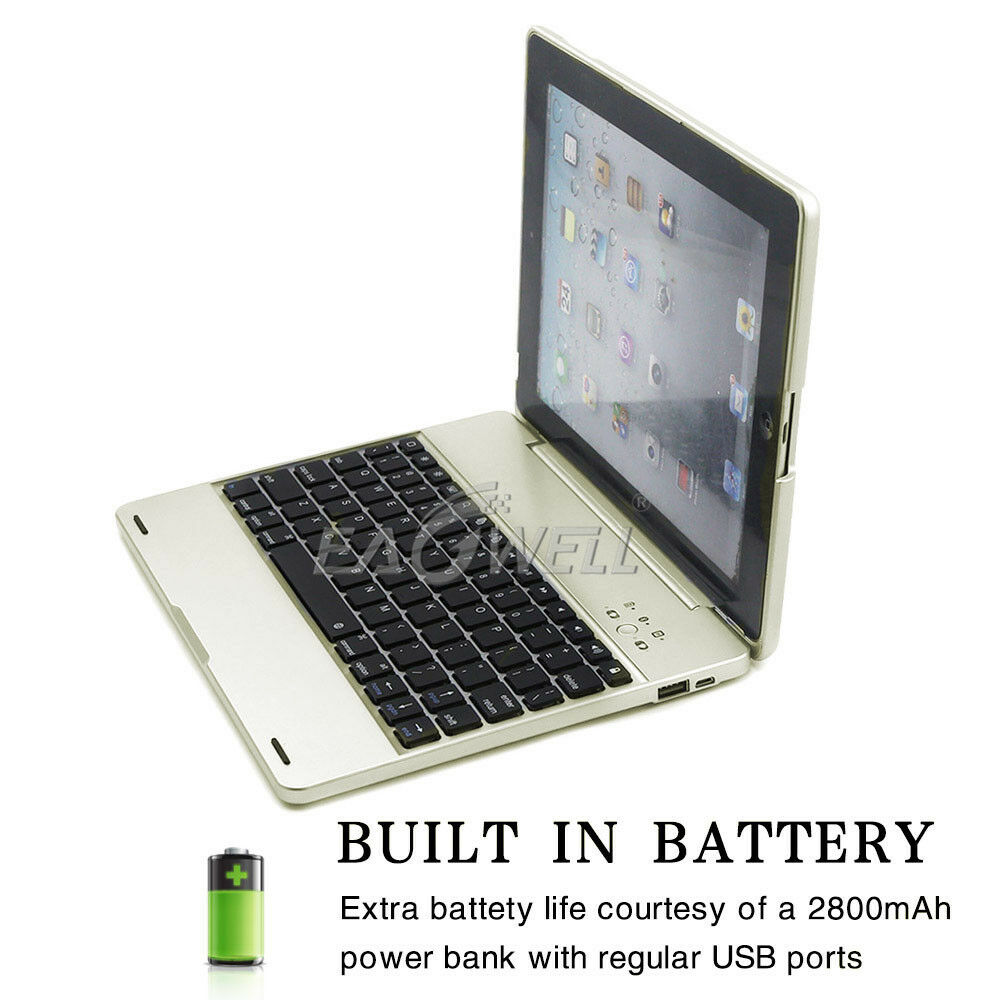 cae240358be Details about For iPad 2 3 4 Wireless Bluetooth Keyboard W/ Power Bank Case  Cover Clamshell