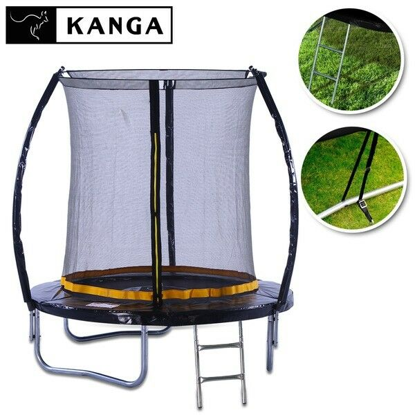 KANGA 6ft Outdoor Trampoline With Enclosure, Net, Ladder