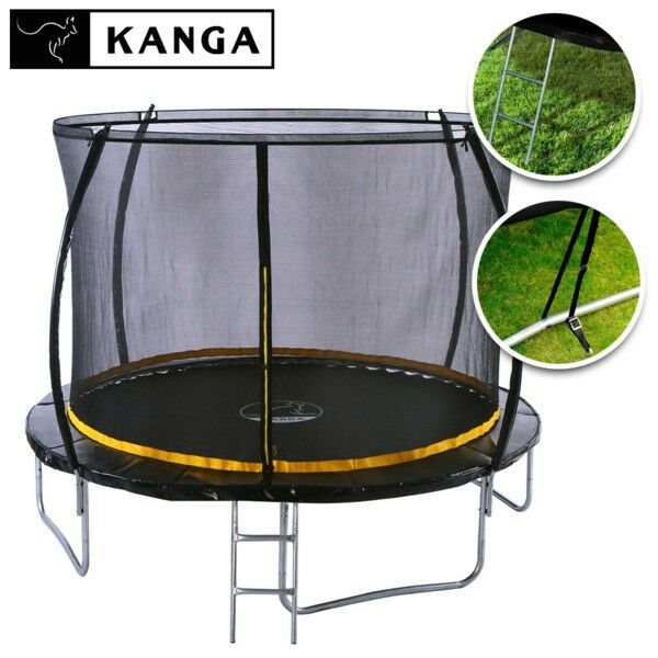 KANGA 10ft Outdoor Trampoline With Enclosure, Net, Ladder