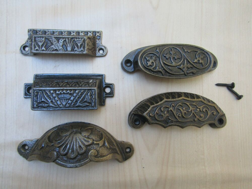Cast Iron Shell Cup Pull Kitchen Cabinet Cupboard Drawer
