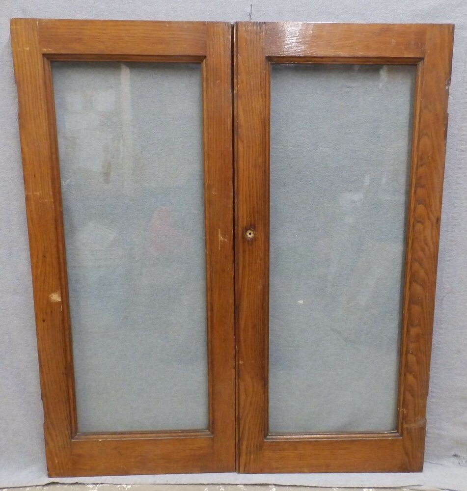 Antique Pair Solid Oak Cabinet Cupboard Doors Old Vintage
