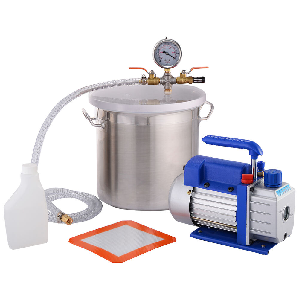 New 3 Gallon Vacuum Chamber and 3 CFM Single Stage Pump ...
