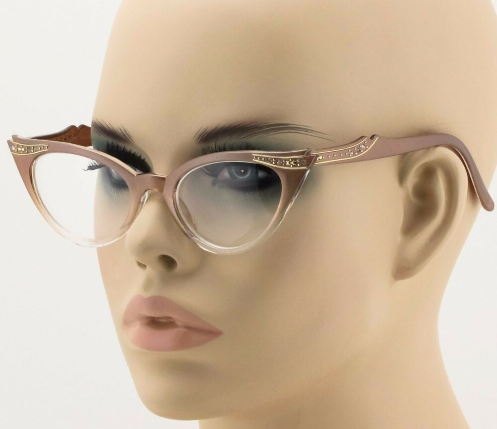 50s Retro Vintage Sexy Cat Eye BROWN Clear Gradient Frame ...