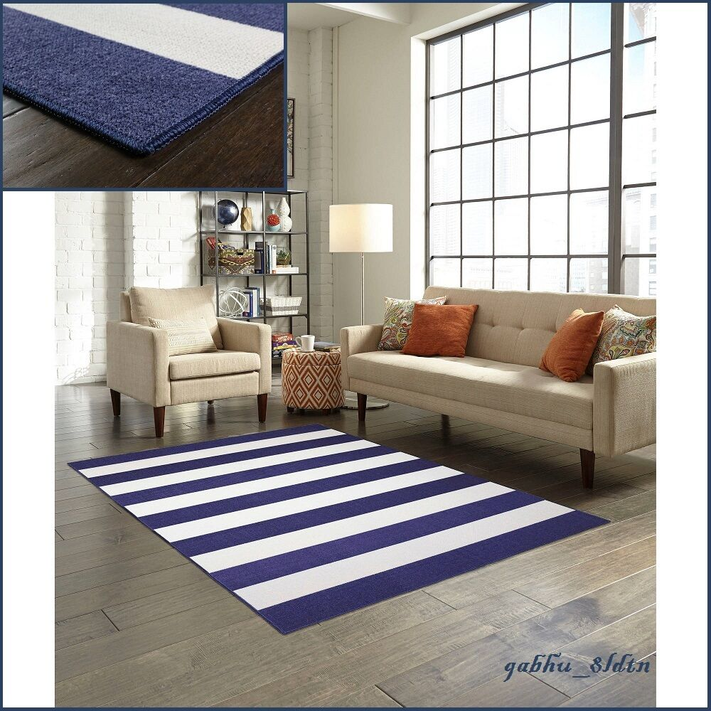 7 X 10 Nautical Area Rug Navy Blue Cabana Stripe