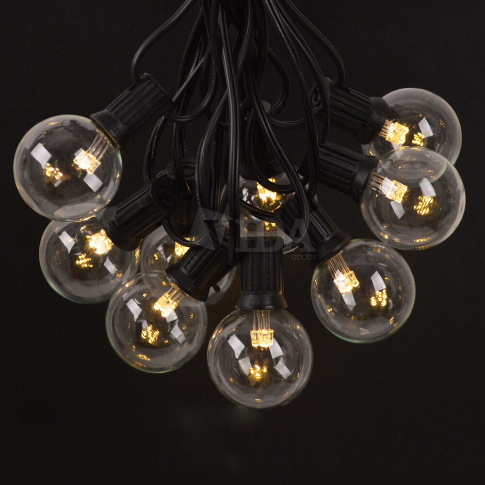 LED 50 Ft 50 Sockets G50 Outdoor Patio Party Globe String Lights + 55 LED Bulbs eBay