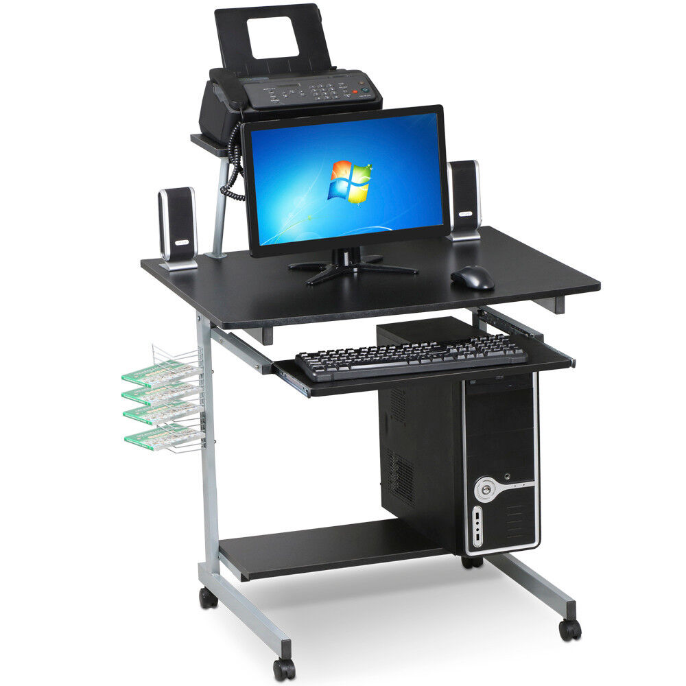 Mobile Computer Desk With Keyboard Tray Printer Shelf And
