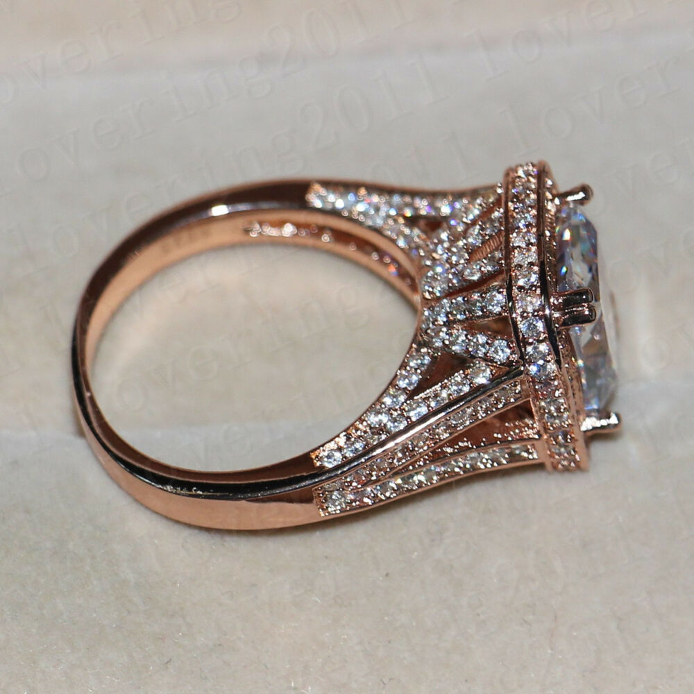 Women Cushion cut 10ct White Sapphire Rose Gold Plated 925 Silver Wedding Rin