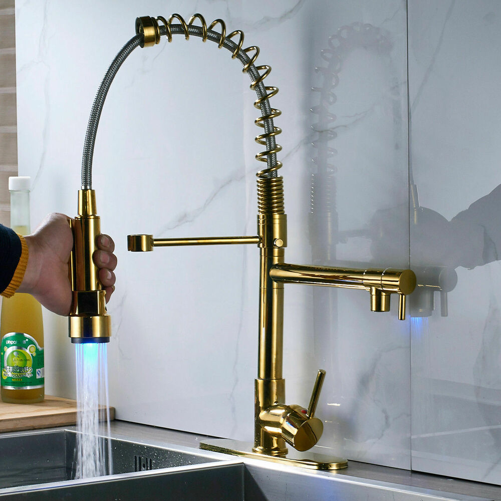 Gold Kitchen Faucet: Gold Polished Pull Down Spray Kitchen Faucet Sink Mixer