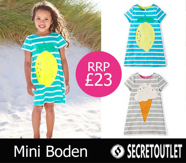 Mini boden girls lemon print striped t shirt dress ebay for Shop mini boden