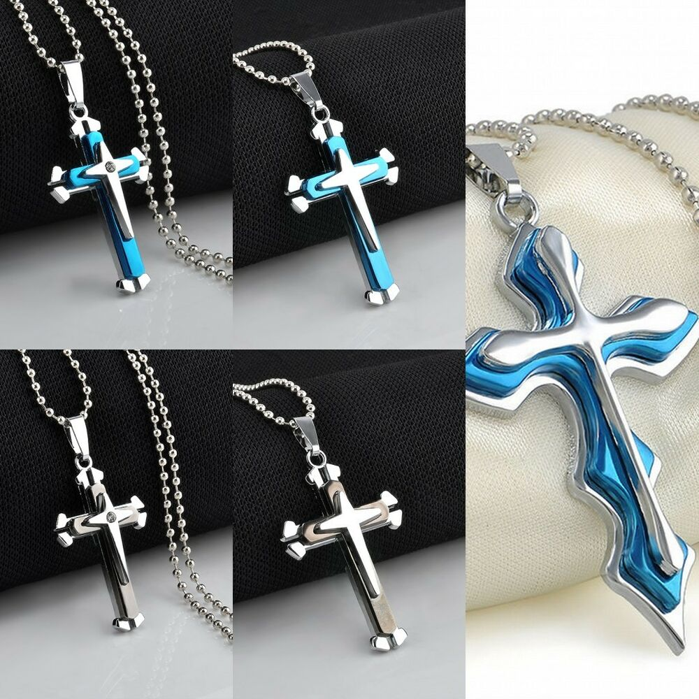 Cool Men S Stainless Steel Cross Crystal Pendant Dog Tag