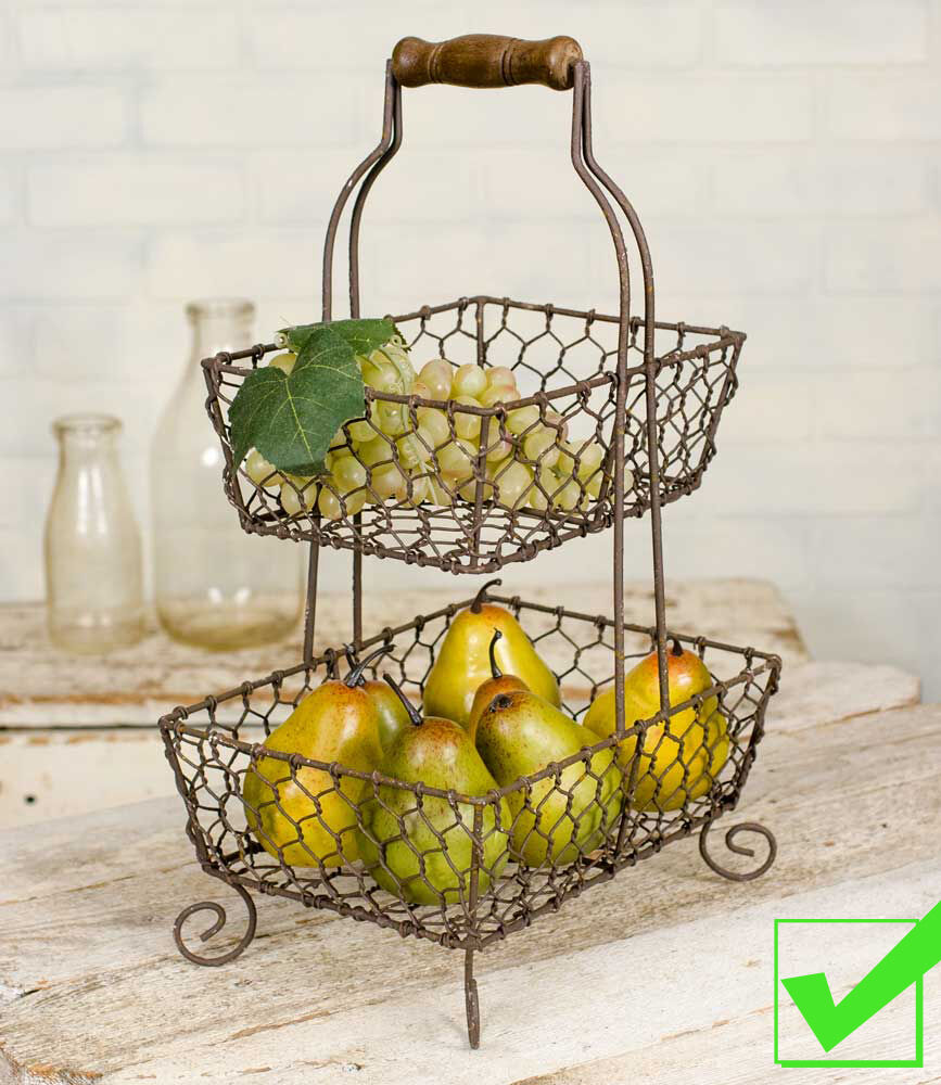 Two Tier Wire Basket Rustic French Country Fruit Bowl