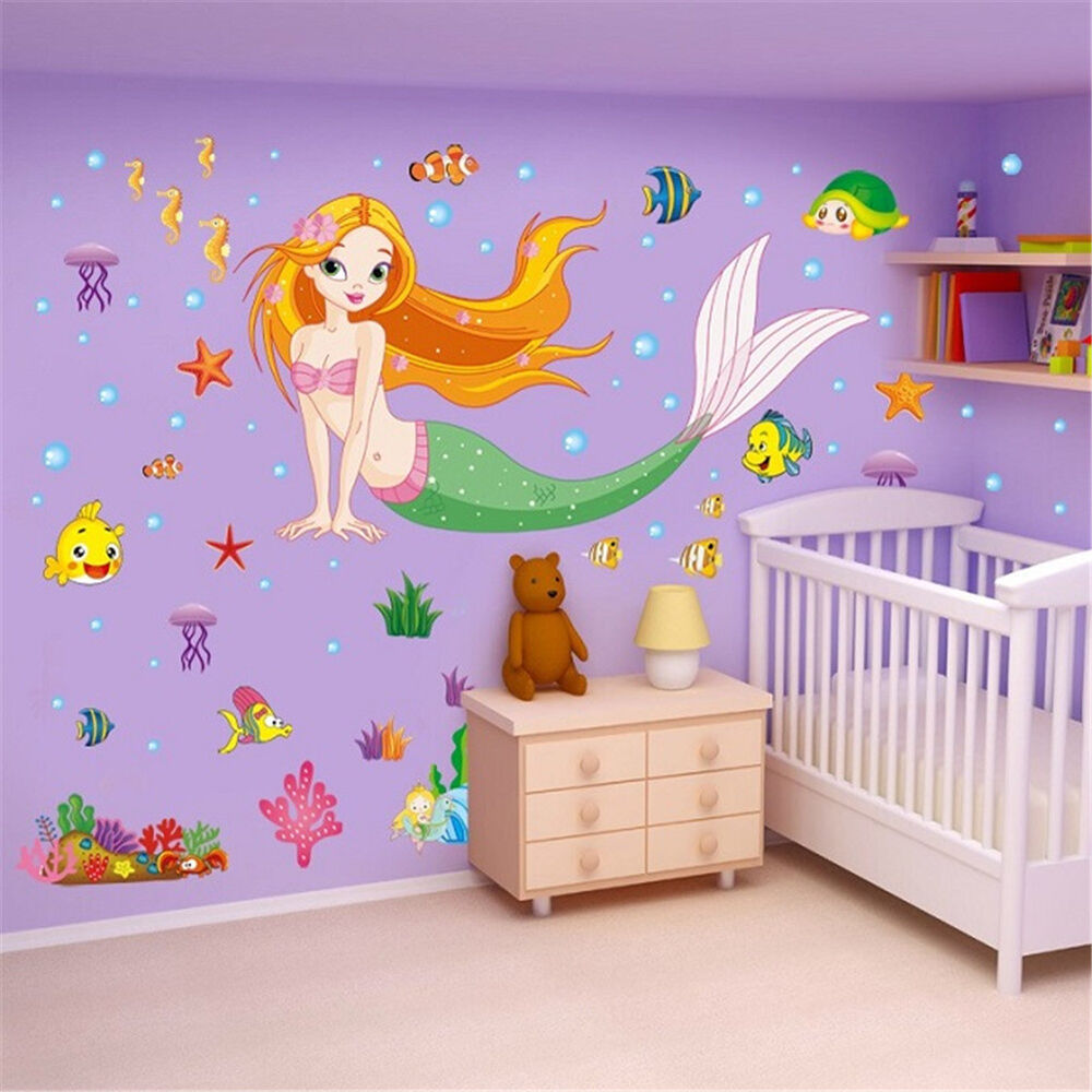 Mermaid cartoon removable decals wall stickers mural art for Wall decals kids room
