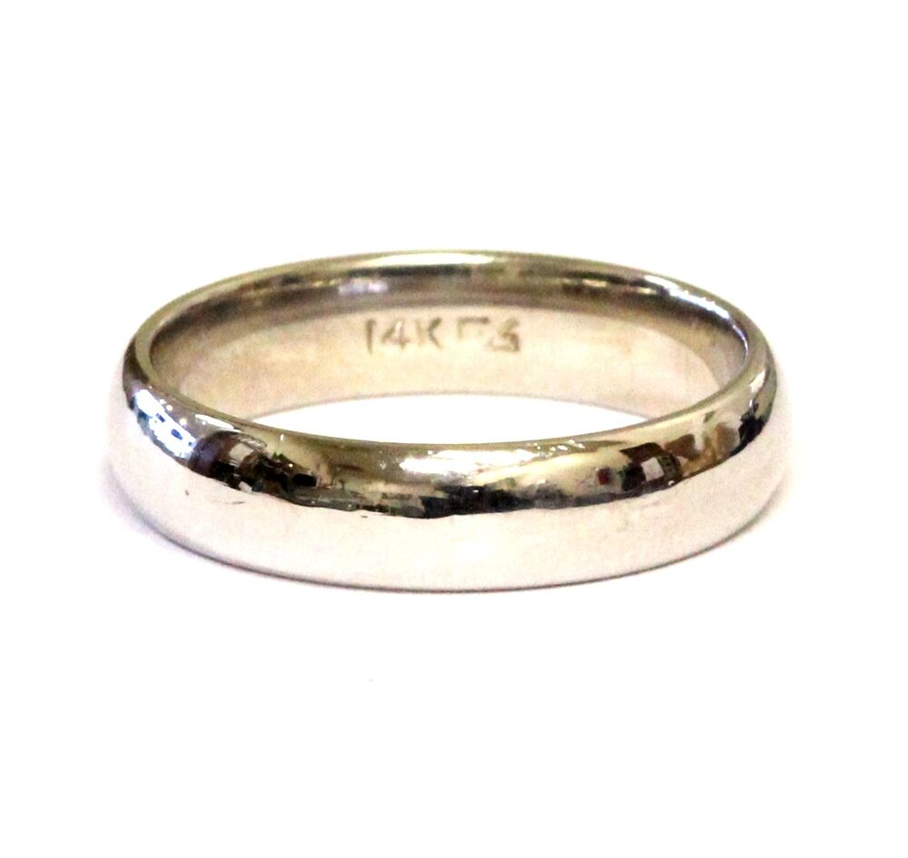 14k white gold 5 36mm mens wedding band ring comfort fit 7