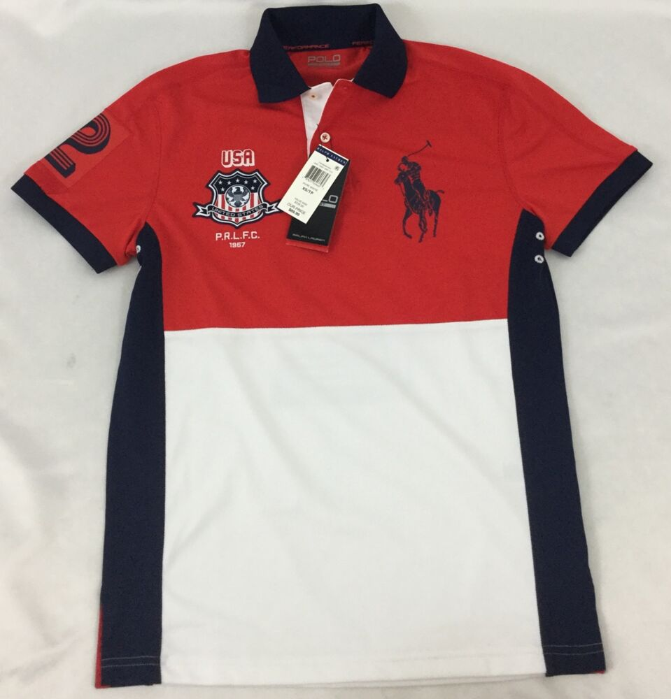 Ralph lauren men 39 s polo sport shirt usa nwt red white navy for What is a sport shirt
