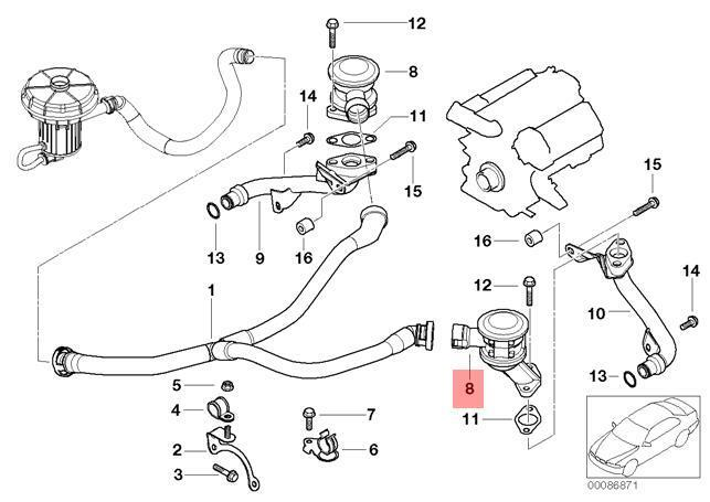 genuine bmw e60 e61 e63 egr valve exhaust gas